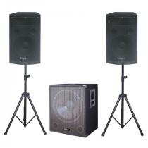 Kit sistem sonorizare subwoofer 15 inch+2 sateliti 12inch+2 stand boxa