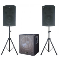 Set boxe 1200w cu subwoofer activ 18 inch + 2 sateliti 12 inch + stand boxe