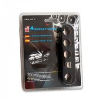 Adaptor bricheta auto 4 socket-uri si port usb