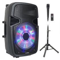 Boxa activa 15 inch/38cm iluminat led cu bt/usb/sd/fm + stand + microfon