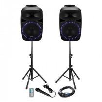 Kit sonorizare 2x12 inch/30cm 2x200w 1 activ + 1 pasiv usb/sd/bt