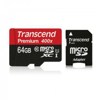 Micro sd card 64gb cls 10 cu adaptor transcend