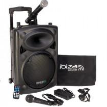 Boxa portabila ibiza 500w, bt, usb, mp3, vox, 2 microfoane, husa