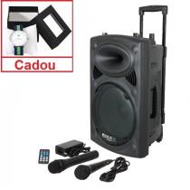 Boxa portabila activa, 400w, fm, bt, sd, usb, vox, uhf, 2 microfoane